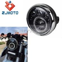 """Светодиодный светильник для мотоцикла E Mark E4 E24 7 """", ST CAFE RACER IronHorse Chopper, изготовленный на заказ 7 дюймовый головной светильник 12 В, дальний и ближний свет, ходовой светильник"""