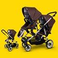 Los gemelos cochecito de bebé cochecito bb doble delantero y trasero plegable luz del coche coche de bebé niño
