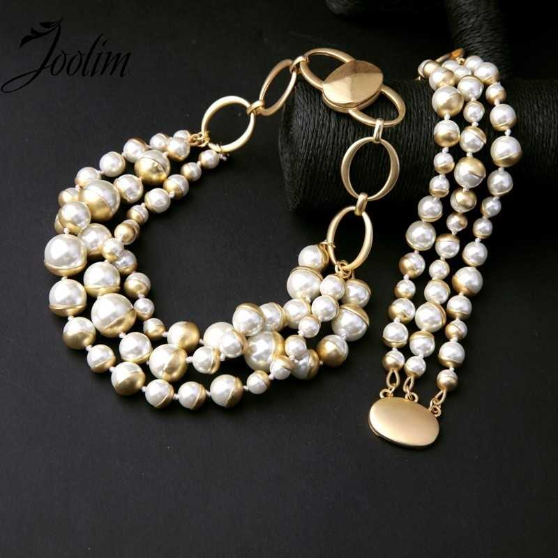 JOOLIM Jewelry Wholesale/  Simulated Pearl Necklace Bracelet Set American & European Style Jewelry Customized Jewelry