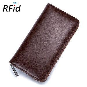 Image 3 - 本革 Rfid ブロッキングクレジットカードホルダー男性オーガナイザー旅行パスポート財布ビジネスカード保有者の女性の財布