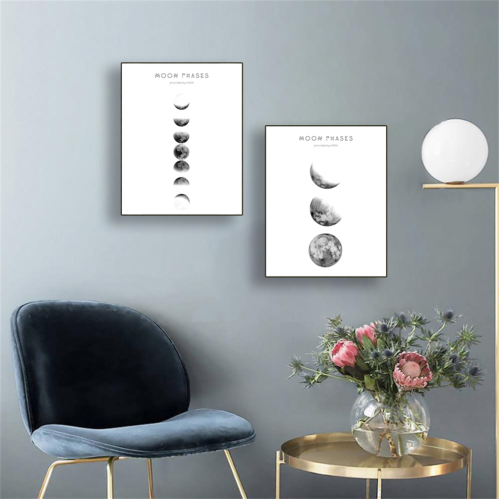 Laeacco Canvas Calligraphy Painting Moon Phase Posters and Prints Minimalist Luna Wall Art Pictures for Living Room Home Decor