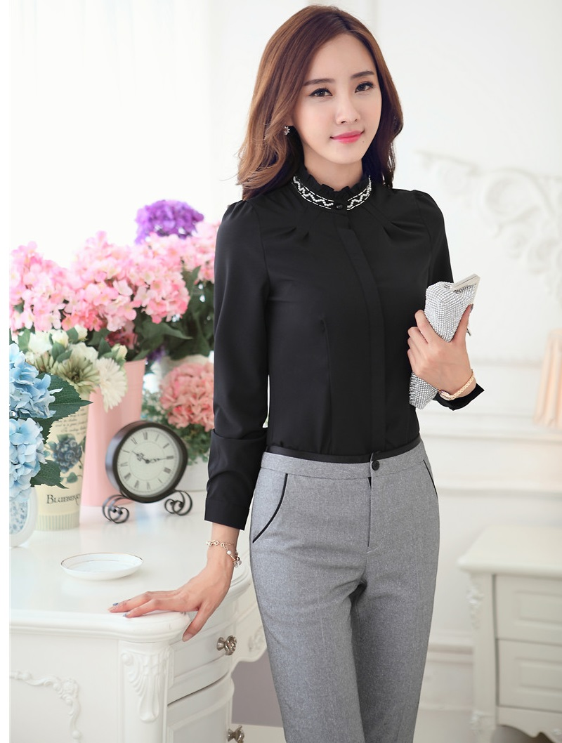 new formal uniform styles ladies office pantsuits tops and