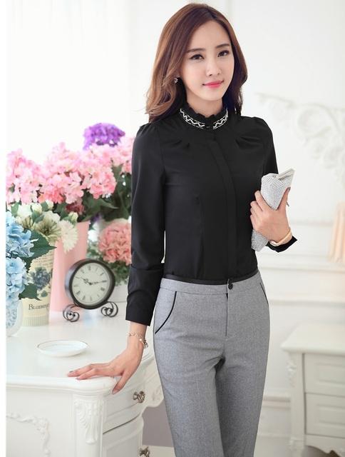 New Styles Uniformes Ladies Escritório Terninhos Formais Topos E Conjuntos de Calças 2015 Primavera Outono Camisas de Forma Magro Calças Femininas