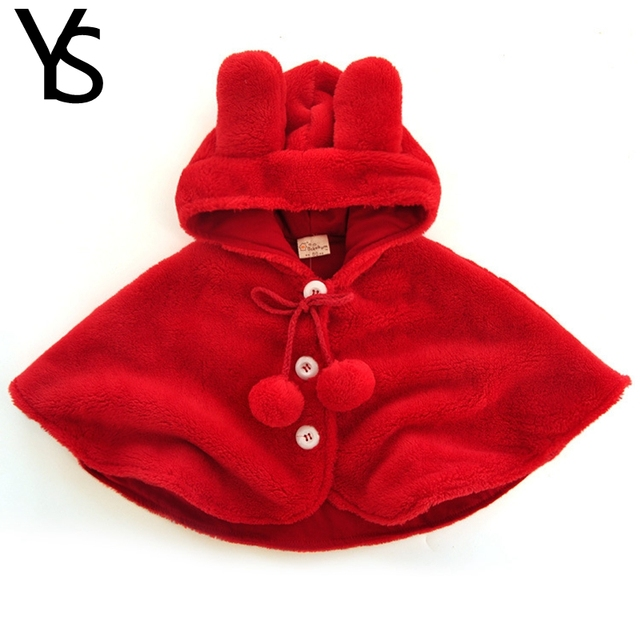 10-24M Baby Girls Cloak For Winter Warm Toddler Red Fleece Cape Rabbit Hat Baby Girls Winter Out Wear Coat