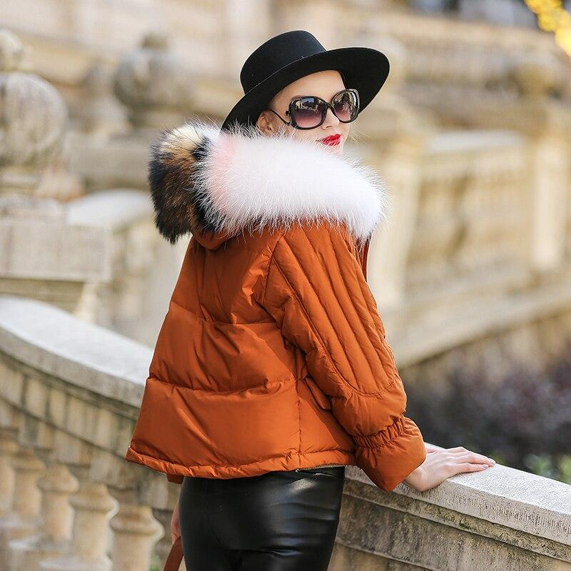 Col Hiver Duvet Femmes Manteau Pour Fourrure Kj1000 Creamy Capuche 2018 De Renard Le Bas white orange À Court Vestes Vers Canard Femme Veste Ayunsue Automne black MpzUSV