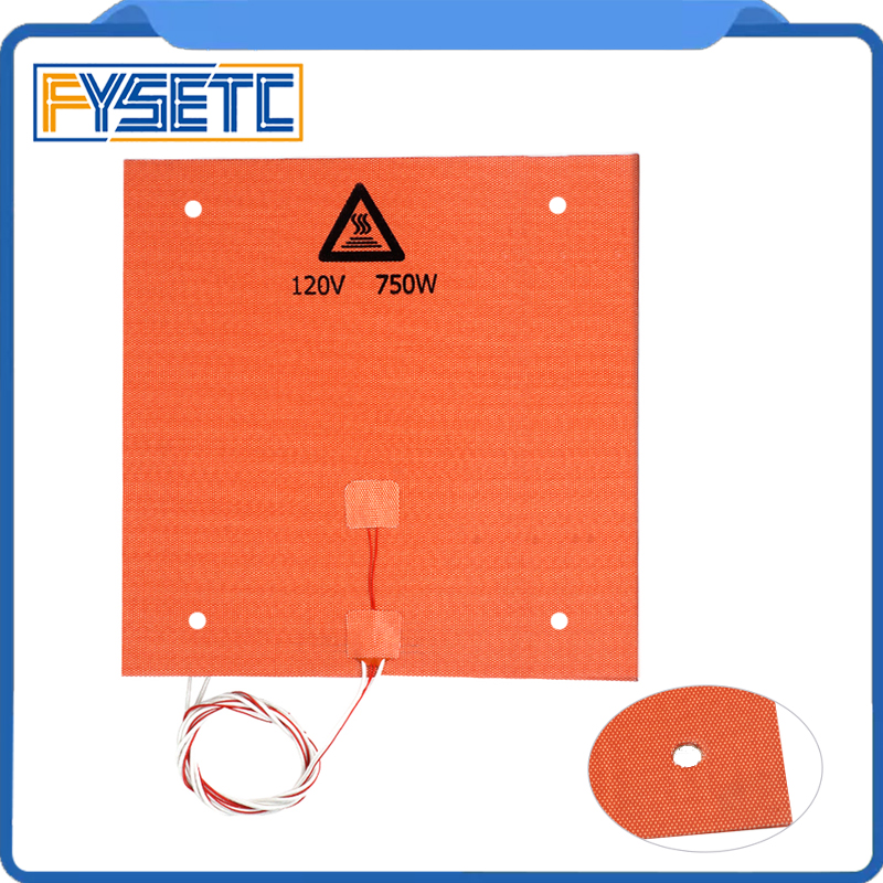 1PC Silicone Heater Pad 310x310mm For Creality CR 10 3D Printer Bed With Screw Holes Adhesive