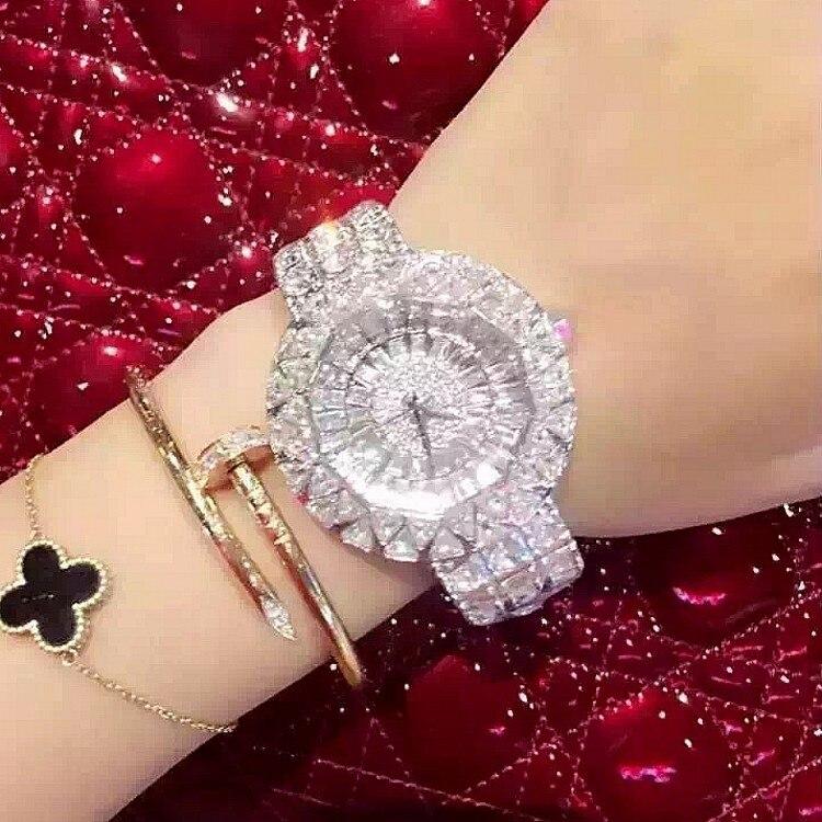2017 Новый стиль! Одежда высшего качества Для женщин часы Роскошные Сталь полный горный хрусталь наручные Леди Кристалл платье часы женские к...