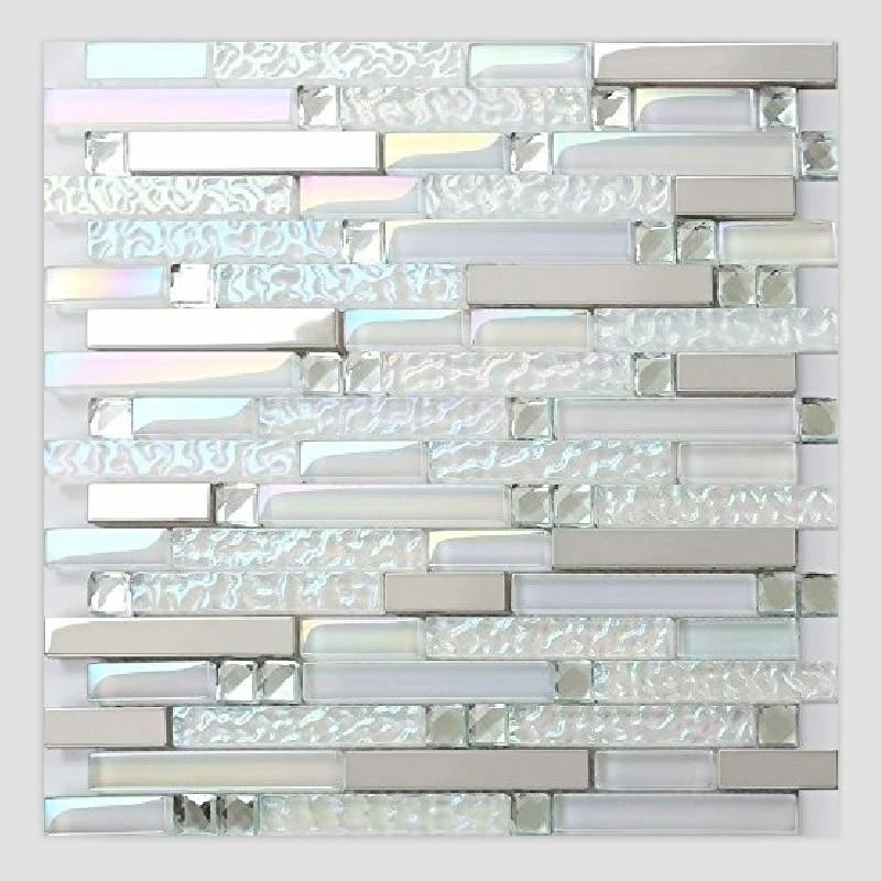 iridescent white glass mixed 13 facets diamond metal mosaic wall tile for waistline kitchen backsplash bath shower