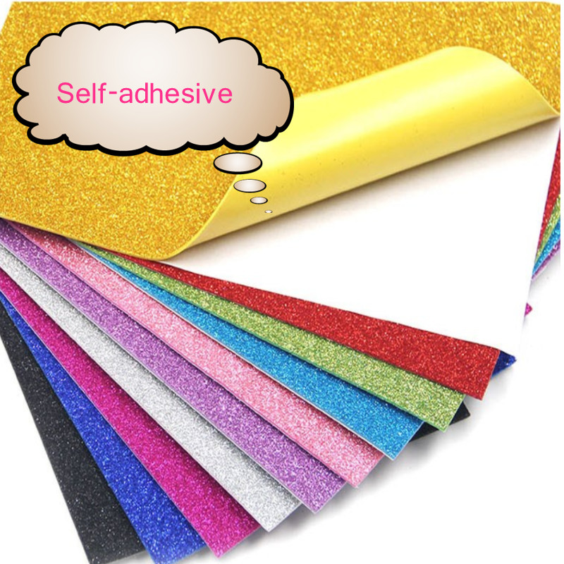 A4 SELF ADHESIVE FOAM GLITTER SHEETS 2 MM  GREEN RED GOLD PINK MIX  COLOURS
