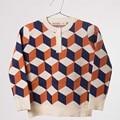 BBK Bobo Estilo Niños Suéter patrón geométrico Tridimensional para bebés Suéter Botón del cuello De Punto De Algodón Sudadera