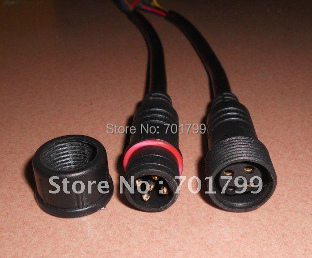 5core waterproof connector with 20cm long cable,male and female;black color: the male connect's diameter:15mm