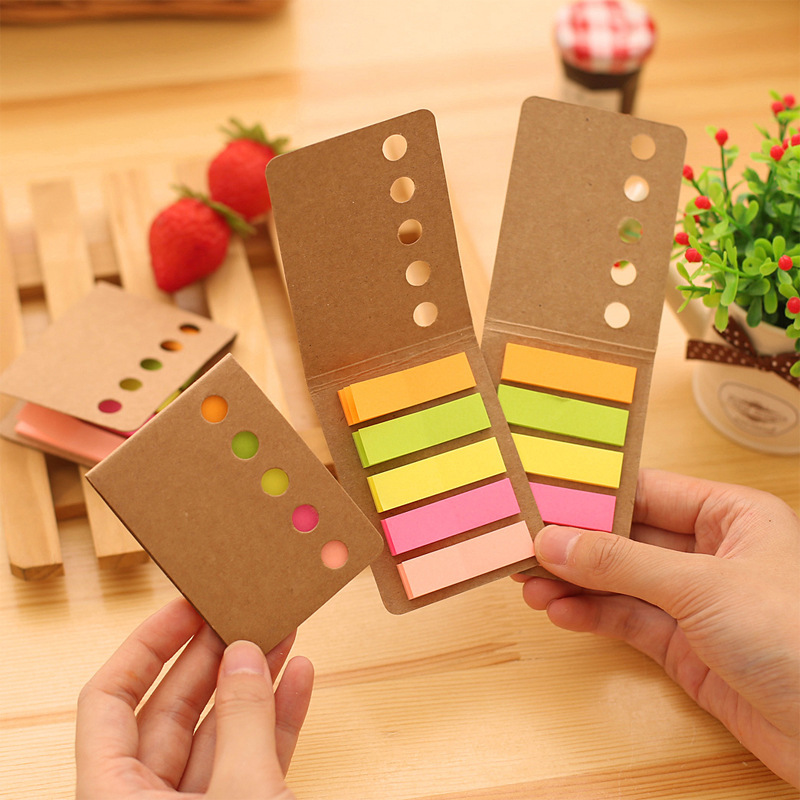 5pcs Rainbow Color Journal Notebook Sticker Kraft Folding Mini Sticky Note Memo Label Tag Bookmark Marker Office School A6818