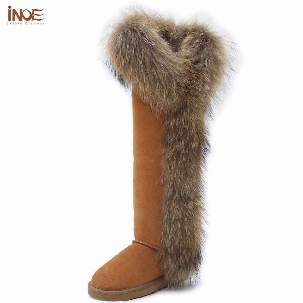INOE di stile di modo grande pelliccia di volpe coscia alti delle donne di inverno stivali da neve per le donne scarpe inverno della pelle scamosciata della mucca in pelle lungo stivali antiscivolo