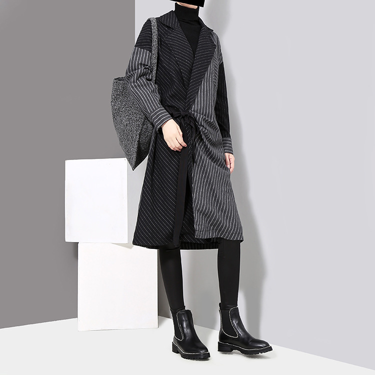 HTB1qbFOcdzJ8KJjSspkq6zF7VXai - [EAM] 2019 New Spring  Winter Lapel Long Sleeve Solid Color Striped Split Joint Loose Big Size Dress Women Fashion Tide JD394