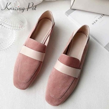 Pumps Krazing Pot Square Low-Heel Comfortable Slip-On Princess L25 Sheep-Suede Toe-Fairy