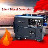 WEC6500J портативный небольшой бытовой дизельный генератор Чистый медный Бесшумный Генератор 5 кВт однофазный генератор 110 В в В/220 В 16L