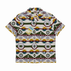BOB DONG Indian Totem Loop Collar Shirts Summer Men Slubby C/F Short Sleeves