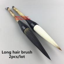 2 יח\חבילה ארוך שיער הסיני קליגרפיה סיני מברשת ציור מברשת עט סיני דיו מברשת כתיבת מברשת עט מו דוב דו שיער
