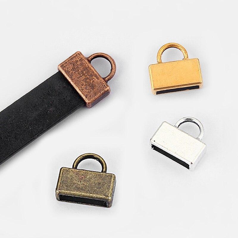 20pcs Antique Silver/Bronze/Copper/Gold End Cap For 10mm Flat Leather Cord Bracelet Necklace Cap Connector Jewelry Findings