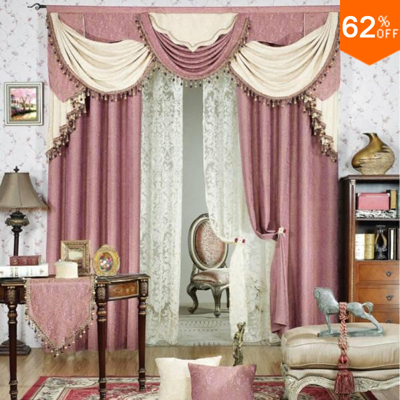 Girl Pink ivory White luxurious Best Bed Room curtains for Restaurant Bed Valancer Blackout color pinky Kids powder room Curtain