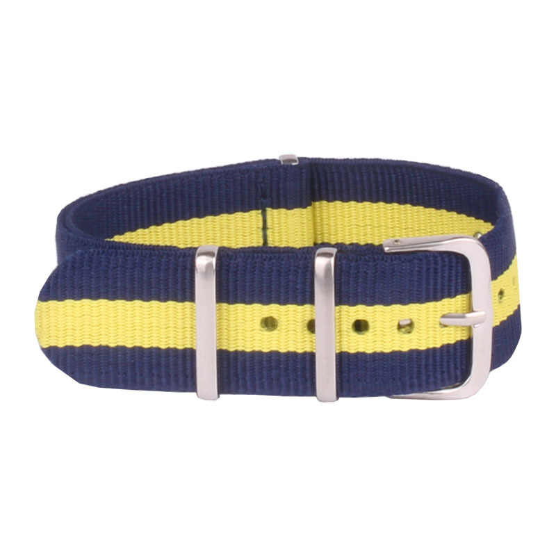 Fashion 20mm Horlogebanden Mannen Vrouwen Army Navy geel Nato Fiber Geweven Nylon Horlogebanden Horloge Band Buckle 20mm horloges riem