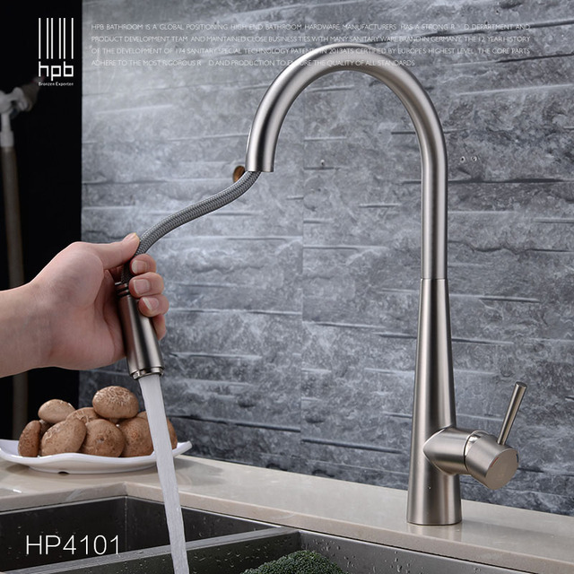 Free Shipping Quality Brushed Kitchen Faucet Mixer Tap Swivel Spout Pull Out Spray Head Cold Hot  Brass Sink faucet Water tap
