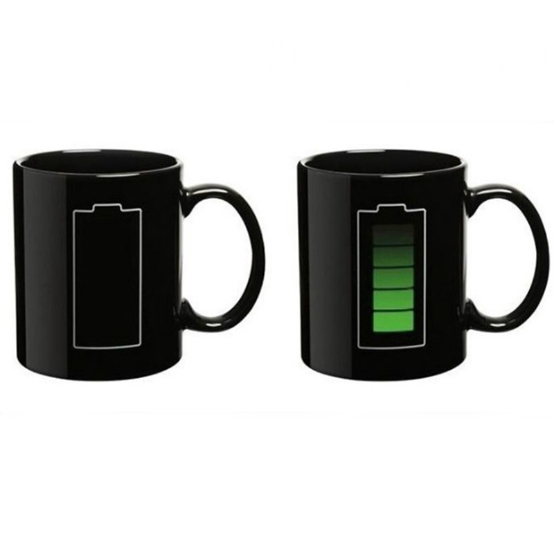 Battery Pattern Ceramic Cup Fashion Color Change Morning Cup Black Hot Cold Temperature Sensitive Cup Coffee