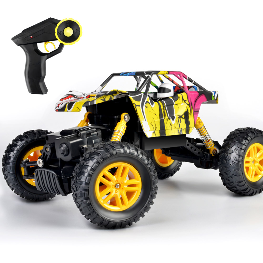 Remote Control Car 2.4GHz 4WD Off Road High Speed RC Car 1/18 Dual Motors Rock Crawler Graffiti Racing Monster Truck-in RC Cars from Toys & Hobbies