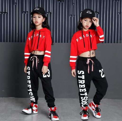 Kids Hip Hop Dance Costumes Girls Long Sleeve Sports Suit Children Jazz Hip hop Dance Clothes Wear for Girl 6 8 10 12 Years