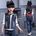 2016 Otoño nueva ropa de los niños Coreanos niñas de algodón de mezclilla chaleco de la historieta de la personalidad chaleco chaleco