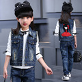 2016 Outono nova Coreano roupas meninas das crianças colete de algodão denim colete personalidade dos desenhos animados