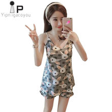 7820085e89509c Sexy damska koszula dwuczęściowy Lato Sling piżamy damskie ustawić Domu  Ubrania dla kobiet zestaw Koreański wersja Kawaii kobiet.