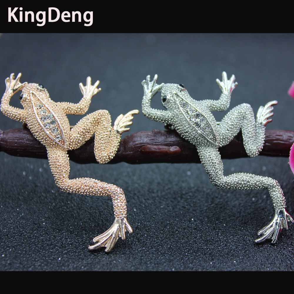 Frogs Brooches For Women Animal Accessories Cute Enamel Pins Rhinestone Two Colors Vintage Fashion Men Jewelry Gifts Pin Karl