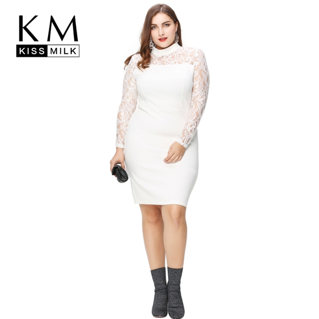 Kissmilk Plus Size Lace High Waist Dress Slim Plus Size Dress Elegant Big Size Dress 3XL 4XL 5XL 6XL OL Style Sexy Bodycon