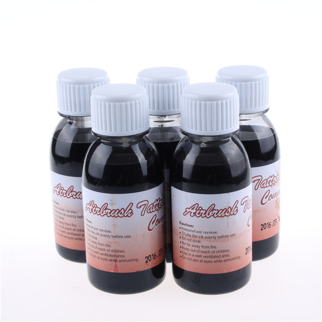 5 Bottles Temporary Airbrush Tattoo Common Black Ink For Body Art Paint Makeup Tattoo Supplies