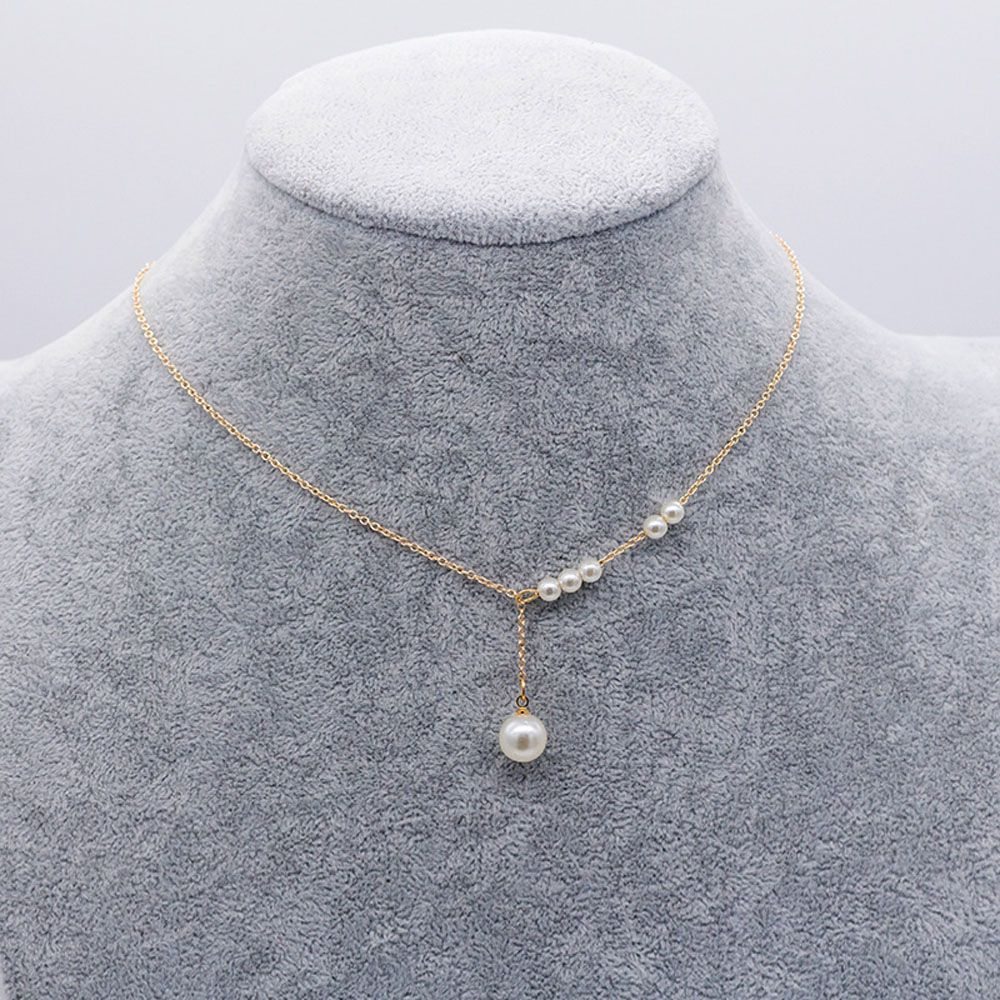 Statement Pearl Crystal Long Sweater Chain Circles Necklace Vintage Accessorie