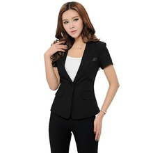 2018 new fashion women business Pant Suits formal office work plus size Slim short-sleeve blazer and pants trousers set