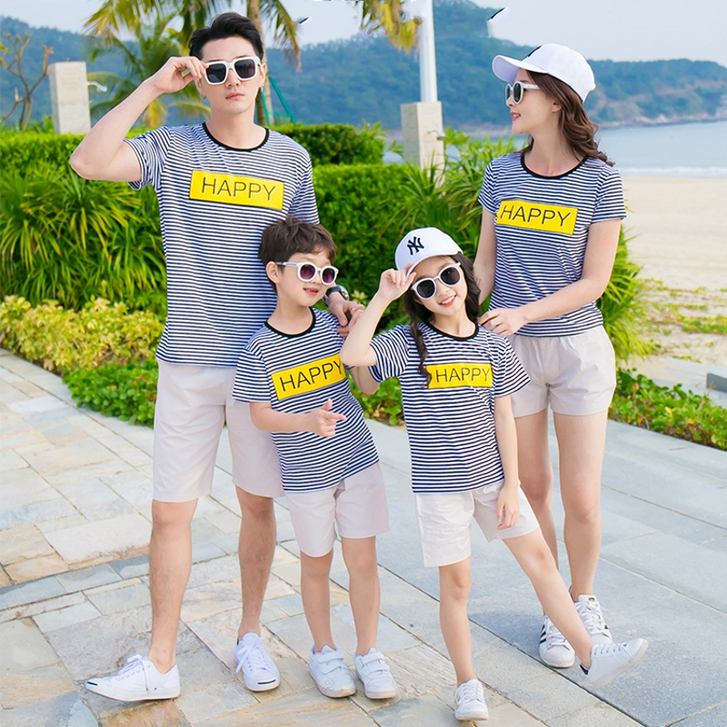 Free Shipping Summer family look family clothes mother daughter father son striped T shirt + Shorts Sets Outfits Happy ...