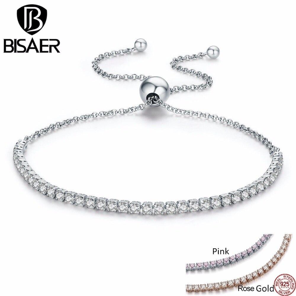100% 925 Sterling Silber Klar Cz, Spitze-up Einstellbare Tennis Strang Armbänder Für Frauen Authentic Armband Schmuck Geschenk Ecb029