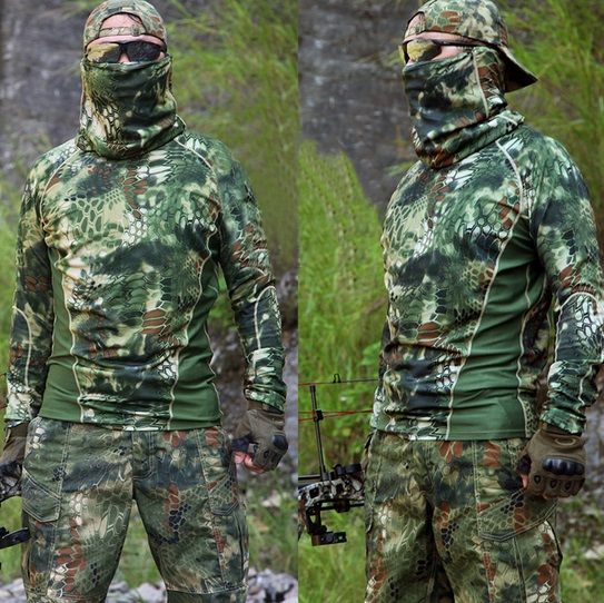 Kryptek camouflage Hunting Clothes Outdoor Sports Quick dry t-shirt Military tactical gear mandrake highlander Airsoft Shirt Велюр