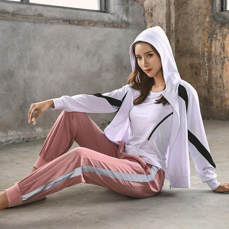 <+>  Yoga Set Толстовка Спортивное пальто  рубашки  бюстгальтер и леггинсы 4 шт. Женская спортивная одежд ★