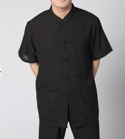 Black Estival Chinese Men S Linen Kung Fu Shirt With Pocket Size S M L XL