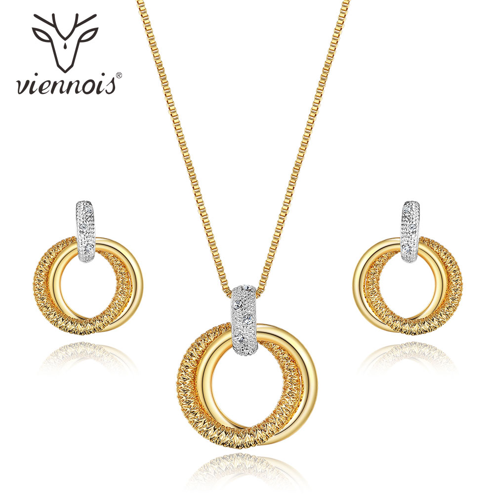 Viennois New Double Circle Jewelry Sets for Women Mixed Gold & Silver Color Round Pendant Necklace Earrings Set Accessories tardoo crossed double circle necklace 925 silver simple double circle gold necklace women fine jewelry hoop pendant necklace