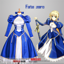 Hot Anime Fate Zero Fate Stay Night Saber Cosplay Costume Blue Dress Women Cos Party Dress