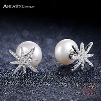 ANFASNI New Arrival Stud Earrings For Wedding Elegant 925 Sterling Silver Star Pearl With Cubic Zirconia