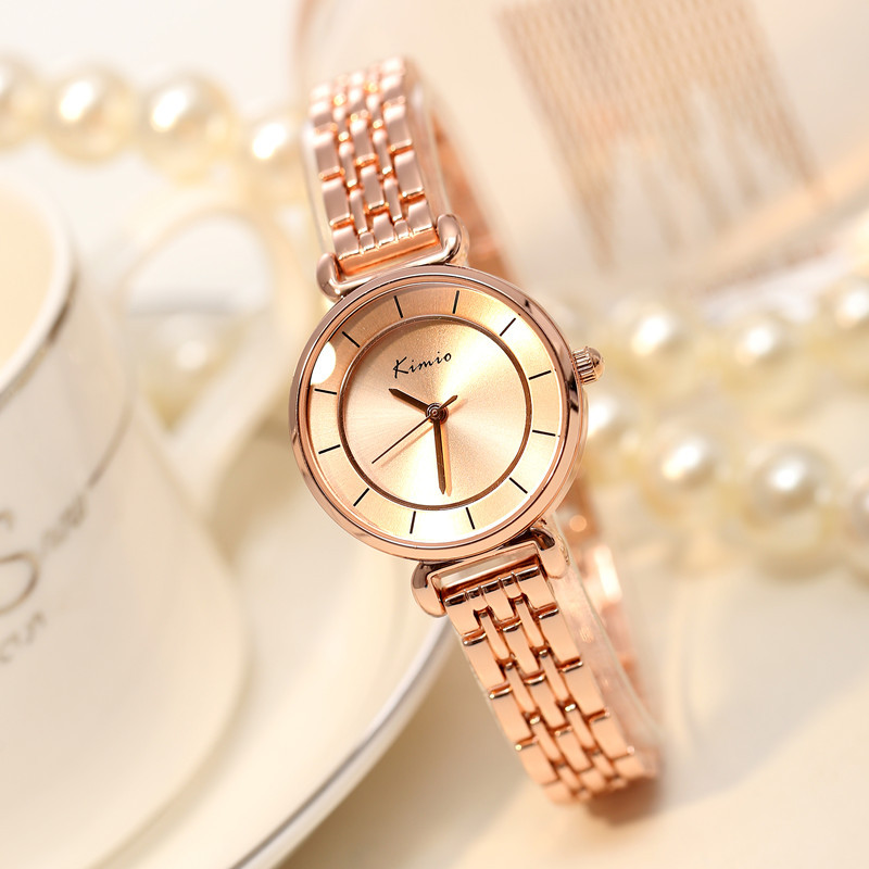 2017 Watch Women Famous Brand Kimio Rose Gold Fashion Stainless Steel Bracelet Quartz Wrist Accessories For Ladies Montre Femme kimio brand luxury exquisite gold bracelet business ladies casual clock reloj mujer women fashion stainless steel quartz watch
