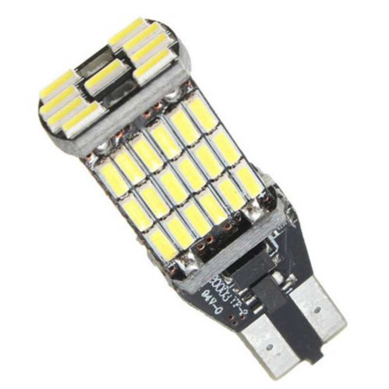 2pcs T15 W16W 45 SMD 4014 Error Free LED Car Reverse Back Light Bulbs 6000K White