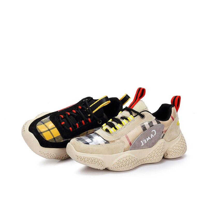 CAMEL Med plate-forme Sneaker femmes Tenis chaussures décontractées pour dames mode rétro Ins talon bas Ulzzang Harajuku chaussures femmes