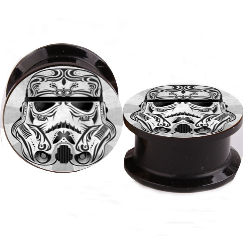 Acrylic Star Wars Logo Ear Gauge Plug And Tunnel Stretching Expander 4-16mm Double Flared Screw Fit Plug Piercing