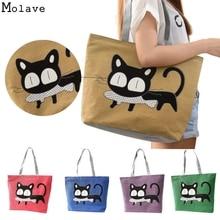 Новый тренд кошка печать одежда холст сумка мешок Cat Лидер продаж женская сумка большая сумка De16 Прямая доставка